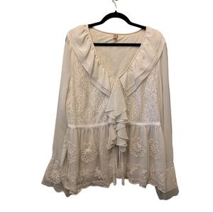 Seven7 White Lace Overlay Detailed Ruffle Top
